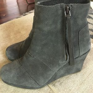 Grey Suede Toms Wedges.  Size 7.
